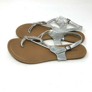 Coconuts T Strap Sandals SZ 8 Silver Buckle